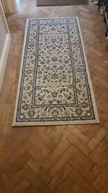 Reduced! Patterned blue and cream hall rug