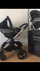 Icandy peach black magic 3 in 1 stroller travel system