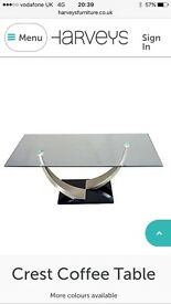 Glass coffee table ex harveys crest collection