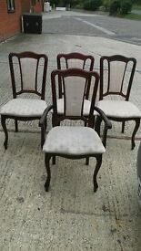 Mahogany colour. Set of 4 dining chairs.