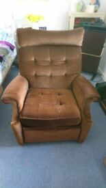 1960's Vintage Parker Knoll (No. 30) Recliner in chocolate brown velvet