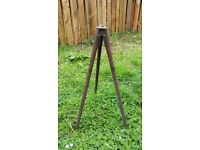 Small wooden tripod with brass feet and top fittings