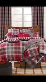 Next checked double bedding set plus curtains