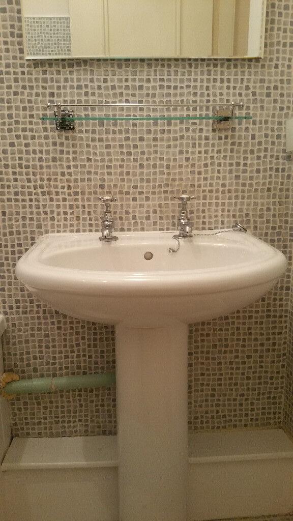Due to refurbishment, white 1700 long bath, basin , electric shower ...