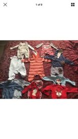 BOYS NEXT DUNGAREES BUNDLE WITH VESTS 0-3 Months