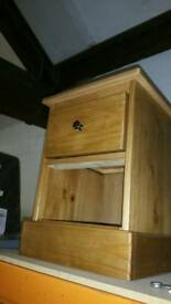 A brand new pine one drawer bedside table.