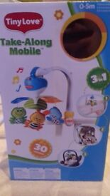Tiny Love Take Along Musical Baby Cot Mobile Lullaby Player with 3 Dangling Toys
