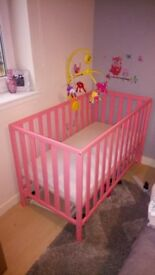 CORAL MOTHERCARE COT AND MATTRESS