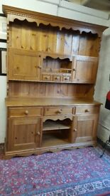 solid pine large kitchen dresser with drawers, stunning solid item