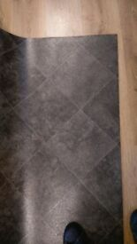 BLACK TILE EFFECT VINYL CUSHION FLOORING 1.70 X 3M BRAND NEW
