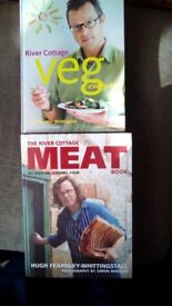 RIVER COTTAGE VEG AND MEAT COOKING BOOKS BY HUGH FEARNLEY-WHITTINGSTALL