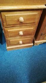 Solid Pine 3 Drawer Bedside