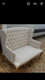 Cream shabby chic two seater chair
