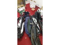 Golf Bags and Clubs x 5