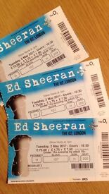 ED SHEERAN X 3 Tickets O2 Tues 2 May unrestricted view, seated Block 107 Row H