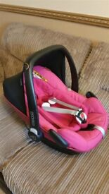 Maxi Cosi Pebble Plus Car Seat - With New Born Insert And Strap Covers