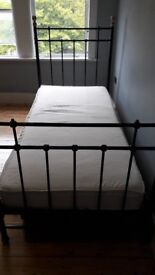 Black Metal Single Bed Vintage Style with two Underbed Storage Boxes on Castors