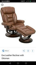 Leather recliner and foot stool