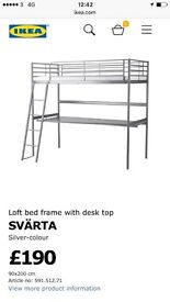 High top single bed with desk - Svarta Ikea