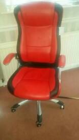 Red leather desk office chair