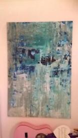 Large Canvas. Abstract blues.