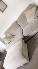 3 seater 2 seater and foot stool in beige