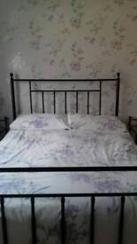 Double bed with 2 matching bedside tables
