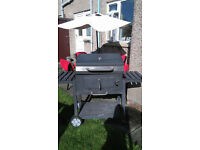 Big charcoal BBQ incl. fireplace and garden furniture set
