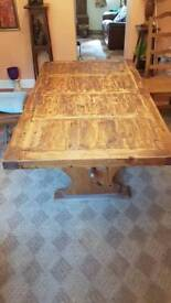 Solid wooden farmhouse table
