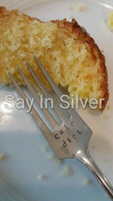 Cake fork-vintage silver plated personalised- Christmas gift,birthday,wedding
