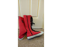 Brand New and unworn - Funky 'Cover Your Bones' long, red, knee-length funky baseball boots