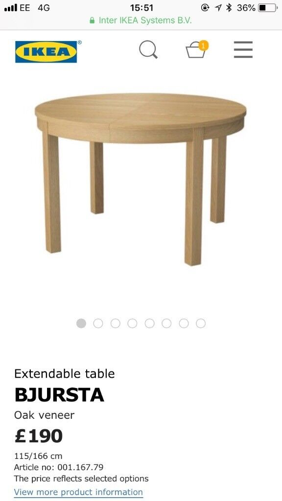 Ikea Bjursta Round Extendable Dining Table In Oak Veneer 60 Collect
