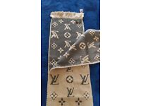 Authentic LV LOUIS VUITTON Wool Silk Scarf Monogram 31x160cm Brown Italy BNWT