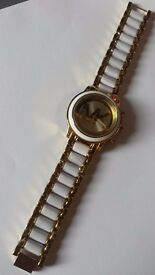 WHITE AND GOLD MK WATCH