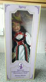 Snow white porcelain doll with display stand