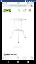 IKEA white metal bed side tables x2