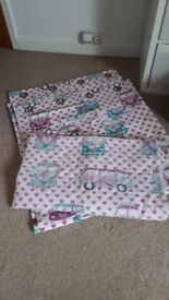 Girls pink campervan curtains and throw