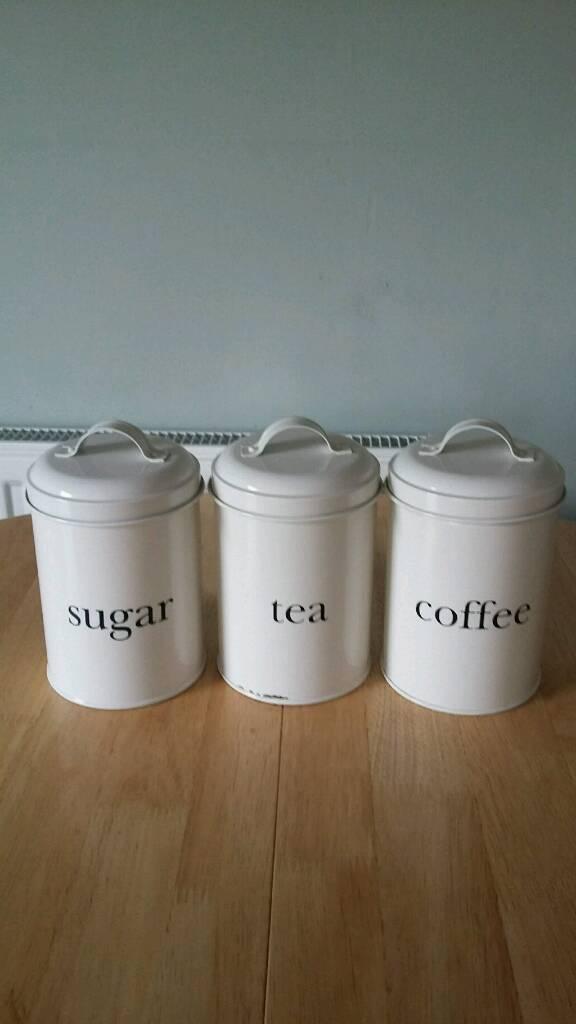 George Home Tea Sugar Coffee Canisters - Cream