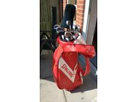 FULL SET OF HOWSON IRONS,DRIVER,PUTTER,BAG,TROLLEY,GLOVES AND BALLS