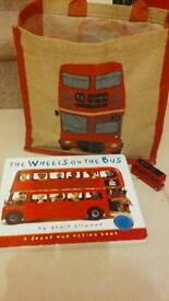 Vintage style London bus bag, toy bus and music book