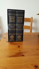 Leather Bound Shorter Oxford English Dictionary's Volume I & II