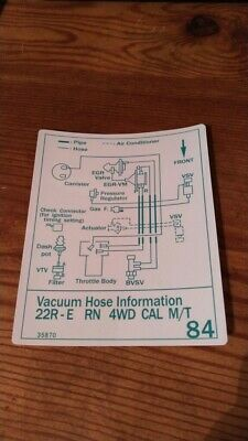 1987 Toyota Truck Pickup/4runner Vacuum Diagram Decal Reproduction 22re Cal #84
