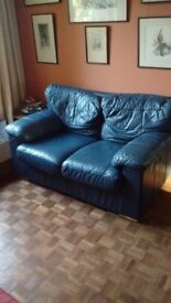 Various sofas and sofabed in navy blue leather-look and red material. You collect