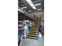 MEZZANINE FLOOR 1105 SQ FT/ 102 SQ METRES TWO STAIRCASES PLUS HAND RAILS £3500.00 ono
