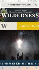 Wilderness ticket Adult £178 general camping 2nd-5th August