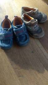 2 PAIRS CLARKS INFANT SHOES SIZE 6G & 6.5G