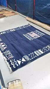 Dark Blue Aztec Area Rug large size 8x10 feet