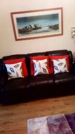 Three seater and Two seater brown leather recliner sofas