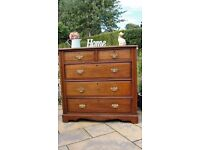 antique, walnut chest of drawers with brass handles