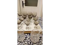 Medium/large and small wine glasses and crystal jugs